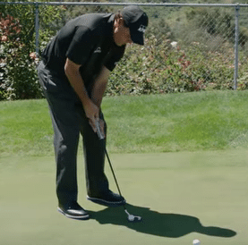 Phil Mickelson surround the cup putting drill breaking putts